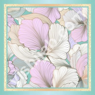 kerudung segi empat motif bunga peony