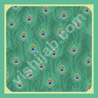 jilbab bulu merak detail native green