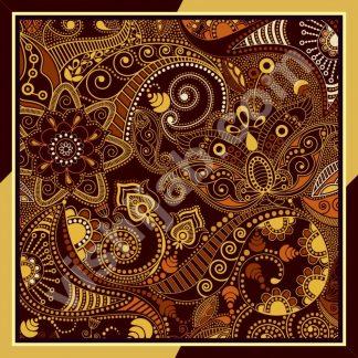 kerudung motif batik yellow brown paisley