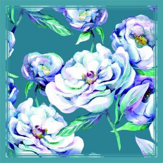 hijab segi empat motif bunga peony putih