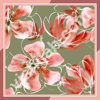 kerudung segi 4 motif bunga oranye
