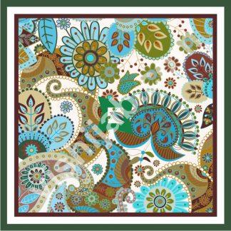 hijab motif batik blue green paisley