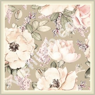 kerudung segiempat motif bunga mawar pink