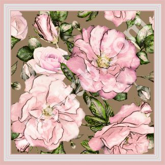 jilbab segi 4 motif bunga mawar pink daun
