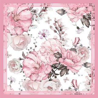 jilbab segi empat bermotif bunga mawar pastel