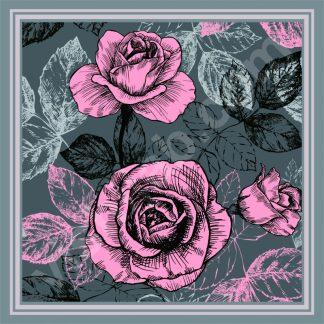 kerudung motif bunga mawar daun pink gray