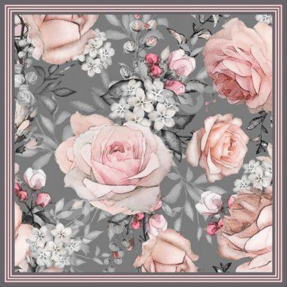 jilbab motif kembang mawar pink pastel