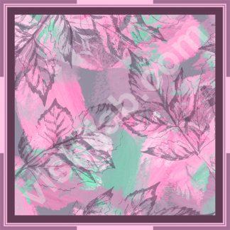 kerudung segi empat motif dedaunan abstrak
