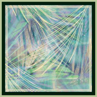 jilbab segi empat motif dedaunan palem biru
