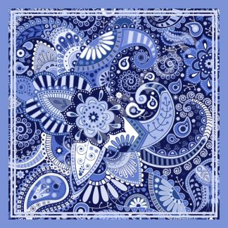 kerudung motif batik blue bright paisley