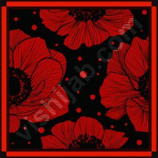 jilbab segi empat motif bunga anemone merah