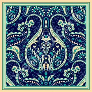 kerudung segi empat motif batik ornamental paisley
