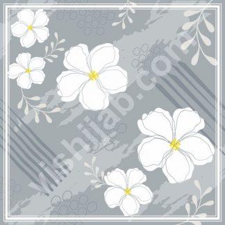 kerudung motif abstrak white blue nature