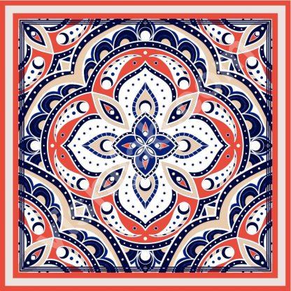 hijab turki blue coral white